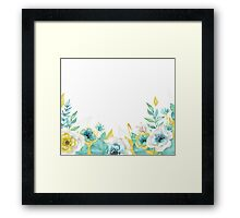 Mint gold flowers Framed Print