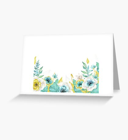 Mint gold flowers Greeting Card