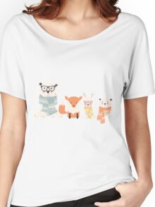 Christmas animal pattern, 001 Women's Relaxed Fit T-Shirt