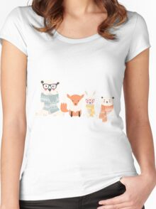 Christmas animal pattern, 002 Women's Fitted Scoop T-Shirt