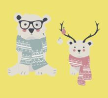Christmas animal pattern, 003 One Piece - Short Sleeve