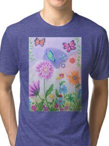 Butterflies and flowers Tri-blend T-Shirt