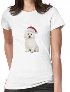 Bichon Frise Santa Claus Merry Christmas Womens Fitted T-Shirt
