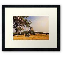 Prayer Cloths on the Trees at Devils Tower National Monument Framed Print