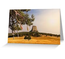 Prayer Cloths on the Trees at Devils Tower National Monument Greeting Card