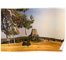 Prayer Cloths on the Trees at Devils Tower National Monument Poster