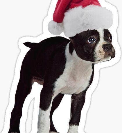 Boston Terrier Puppy Santa Claus Merry Christmas Sticker