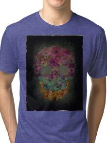 Sugar Skull Flowers In Bloom Tri-blend T-Shirt