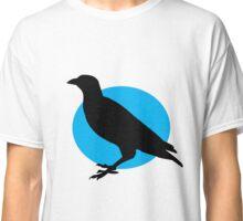 Black crow on a setting blue sun Classic T-Shirt