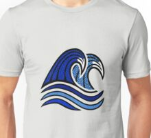 Colorful Blue Wave Illustration Unisex T-Shirt