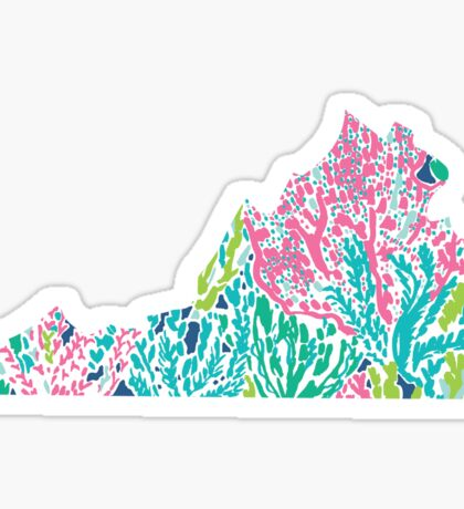 Virginia Lilly Pulitzer Coral Sticker