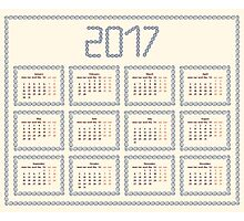 2017 year calendar template.Colorful decorative design. Photographic Print