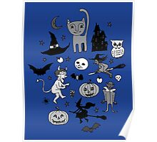 Retro Halloween - blue and grey Poster