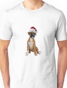 Boxer Puppy Santa Claus Merry Christmas Unisex T-Shirt