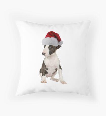 Bull Terrier Puppy Santa Claus Merry Christmas Throw Pillow