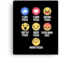 Pizza Lover Emotions Funny Emoticon Emoji T-Shirt Canvas Print