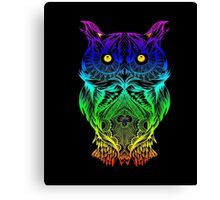 Owl Psychedelic Retro Hippie Hipster Style T Shirt Canvas Print