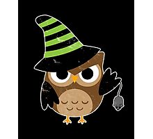 Cute Witch Halloween Owl - Distressed Vintage Print Shirt Photographic Print