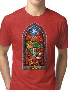 LoZ Grappling Hook Stained Glass Tri-blend T-Shirt