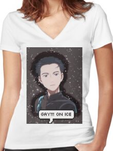 gay!!! on ice Women's Fitted V-Neck T-Shirt