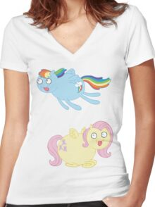 Poobrain Minis - Pegasus Women's Fitted V-Neck T-Shirt