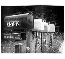 Black and white raw of old road country us mailboxes Poster