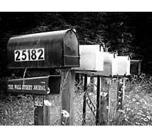Black and white raw of old road country us mailboxes Photographic Print
