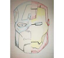 Iron man Captain america half face. Photographic Print
