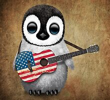 Baby Penguin Playing American Flag Guitar by Jeff Bartels