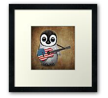 Baby Penguin Playing American Flag Guitar Framed Print