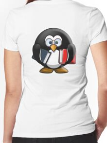 Bookworm Penguin, Cartoon Women's Fitted V-Neck T-Shirt