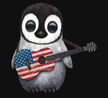 Baby Penguin Playing American Flag Guitar Kids Tee