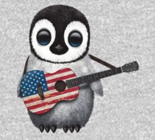 Baby Penguin Playing American Flag Guitar One Piece - Long Sleeve