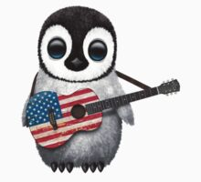 Baby Penguin Playing American Flag Guitar Kids Clothes