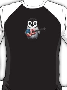 Baby Penguin Playing American Flag Guitar T-Shirt