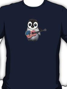 Baby Penguin Playing American Flag Guitar T-Shirt