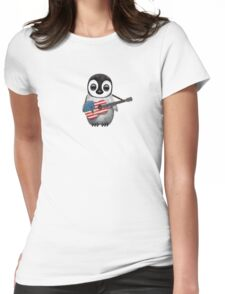 Baby Penguin Playing American Flag Guitar Womens Fitted T-Shirt