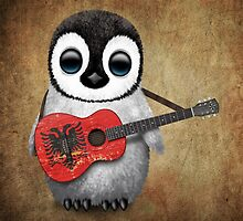 Baby Penguin Playing Albanian Flag Guitar by Jeff Bartels