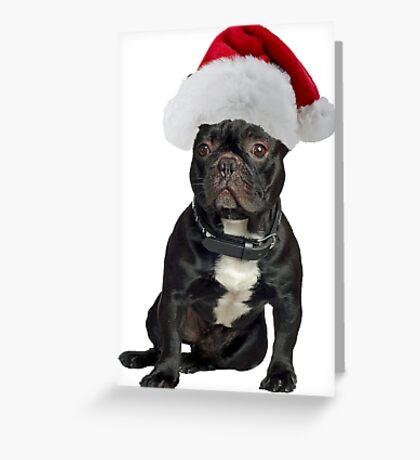 French Bulldog Santa Claus Merry Christmas Greeting Card