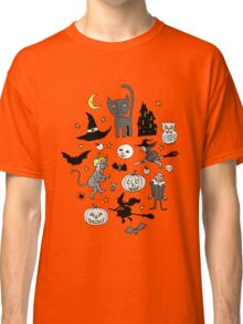 Retro Halloween - grey and turquoise Classic T-Shirt