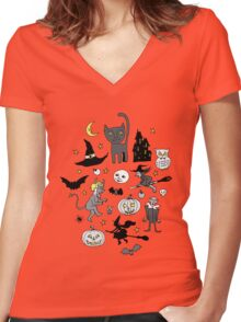 Retro Halloween - grey and turquoise Women's Fitted V-Neck T-Shirt