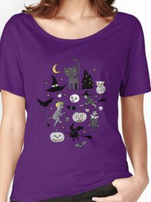 Retro Halloween - grey and turquoise Women's Relaxed Fit T-Shirt
