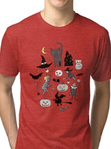 Retro Halloween - grey and turquoise Tri-blend T-Shirt