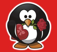 Penguin, Valentine, Cartoon, Love, Romance, Red Baby Tee