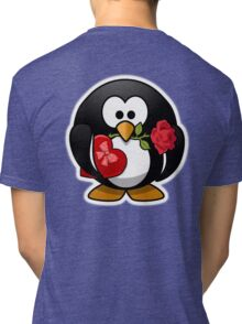Penguin, Valentine, Cartoon, Love, Romance, Red Tri-blend T-Shirt