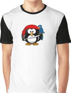 Pirate Penguin, Penguins of the Caribbean, Cartoon Graphic T-Shirt