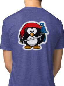 Pirate Penguin, Penguins of the Caribbean, Cartoon Tri-blend T-Shirt