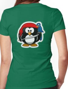 Pirate Penguin, Penguins of the Caribbean, Cartoon Womens Fitted T-Shirt