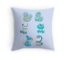 Pokemon Starters - Water Types Throw Pillow