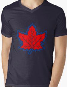 Vintage Retro Canadian Style Maple Leaf Symbol Mens V-Neck T-Shirt